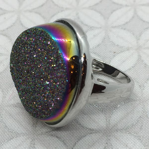 iridescent titanium druzy cocktail ring rainbow